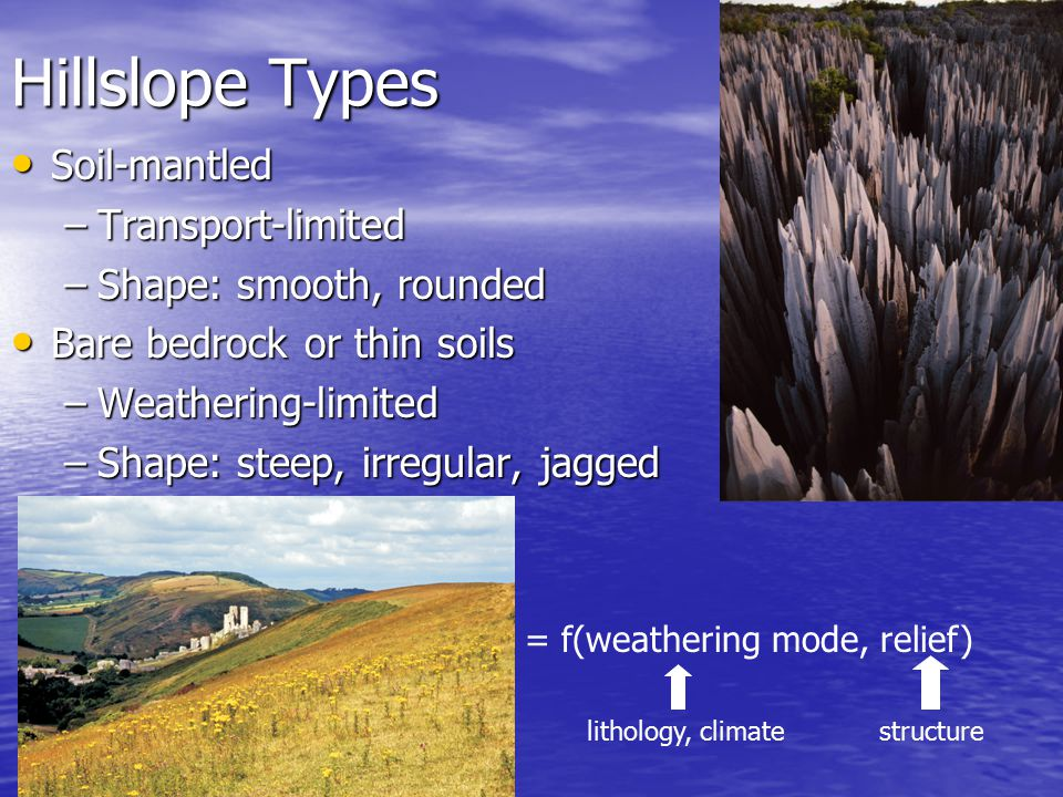 Diffusion and hillslopes Landscape dominated by diffusive erosion processes have rounded edges Landscape dominated by diffusive erosion processes have rounded edges –Diffusion attacks sharp corners Diffusion combines Diffusion combines –Conservation of mass –How mass flux responds to driving variables