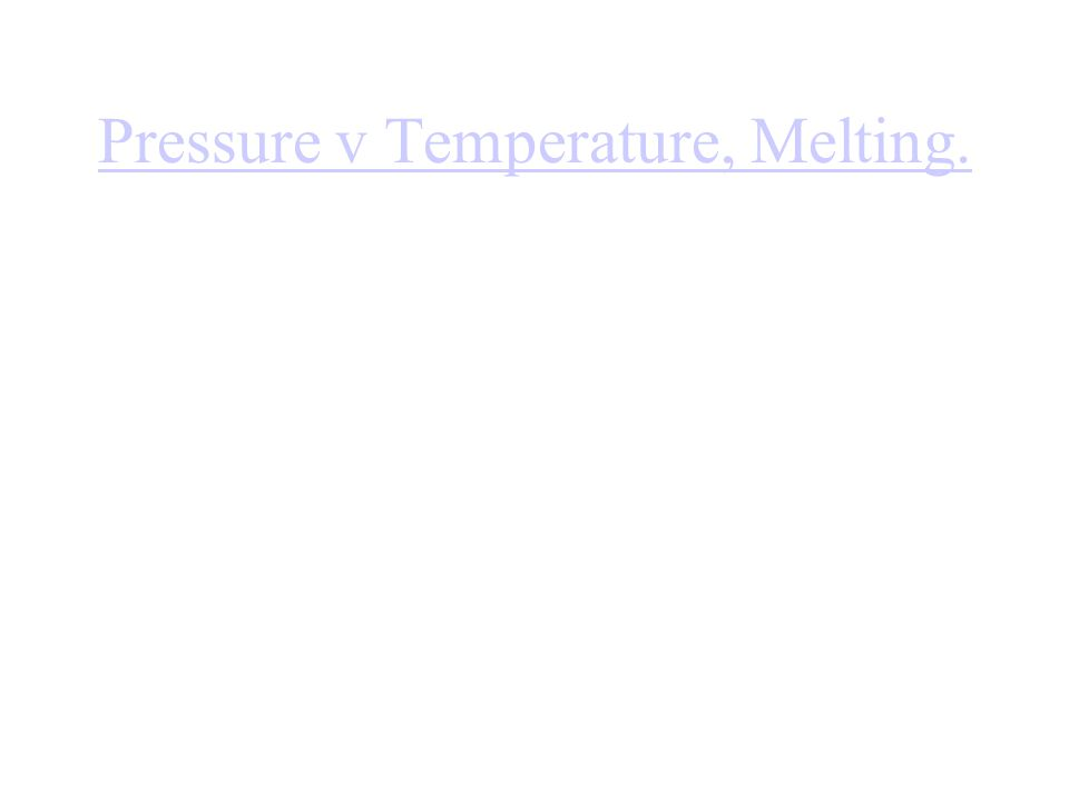 Pressure v Temperature, Melting.