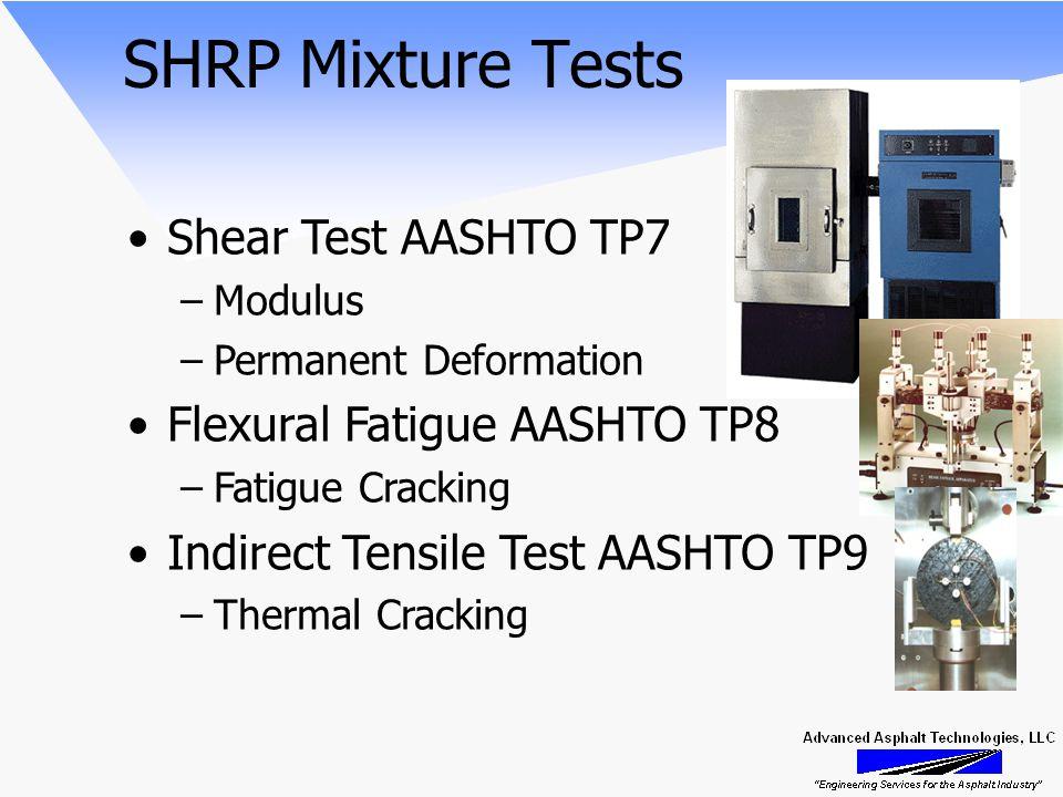 SHRP Mixture Tests Shear Test AASHTO TP7 –Modulus –Permanent Deformation Flexural Fatigue AASHTO TP8 –Fatigue Cracking Indirect Tensile Test AASHTO TP9 –Thermal Cracking