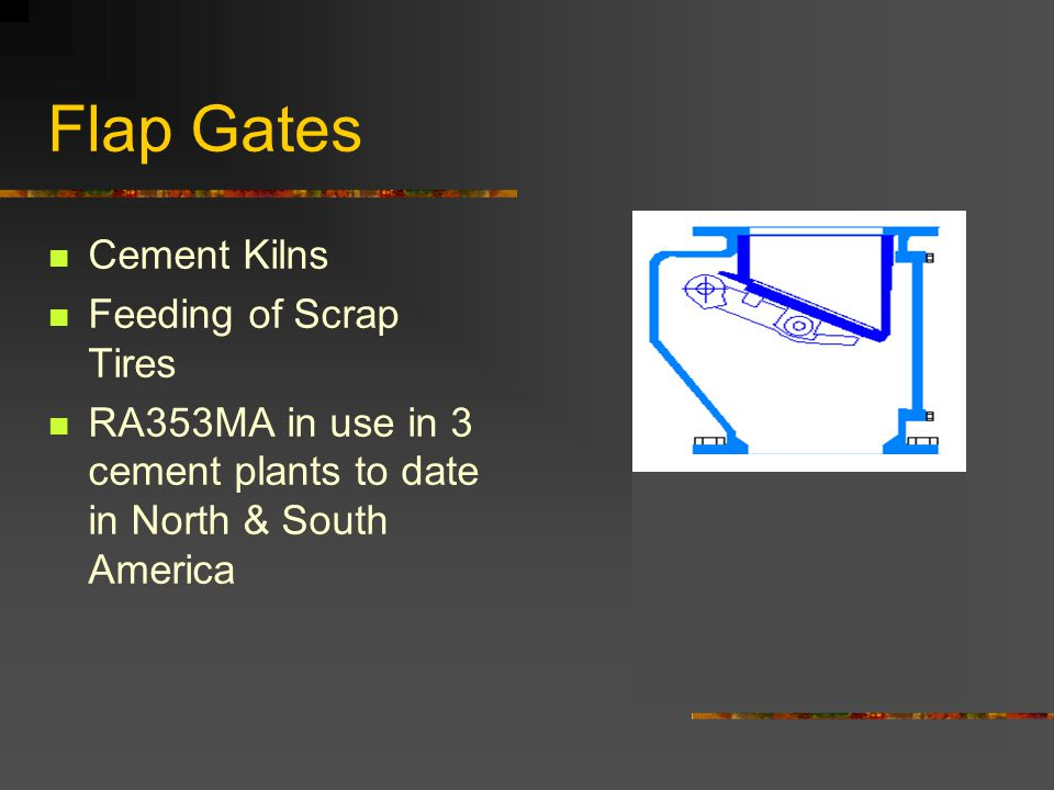Flap Gates Cement Kilns Feeding of Scrap Tires RA353MA in use in 3 cement plants to date in North & South America
