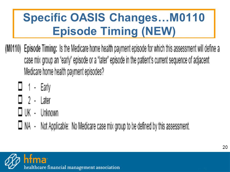 20 Specific OASIS Changes…M0110 Episode Timing (NEW)