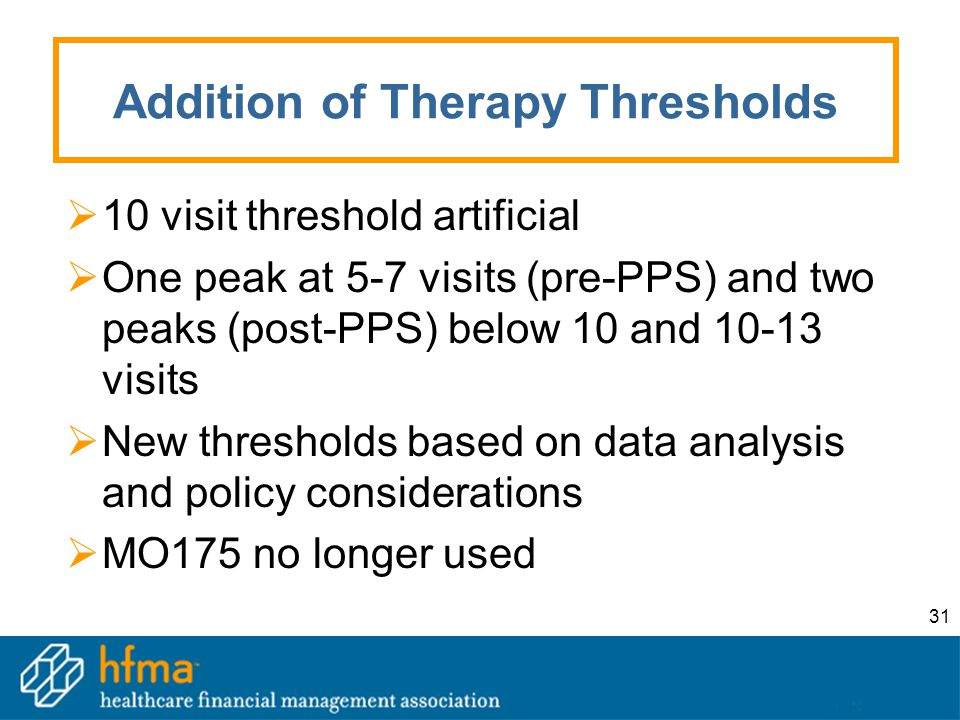31 Addition of Therapy Thresholds  10 visit threshold artificial  One peak at 5-7 visits (pre-PPS) and two peaks (post-PPS) below 10 and 10-13 visit