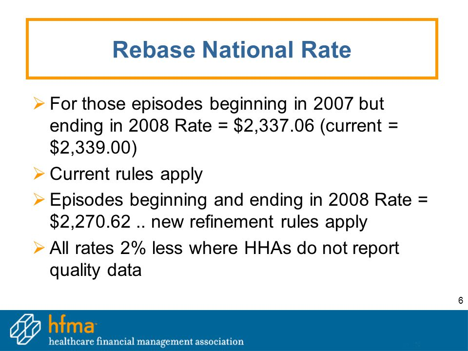 6 Rebase National Rate  For those episodes beginning in 2007 but ending in 2008 Rate = $2,337.06 (current = $2,339.00)  Current rules apply  Episod