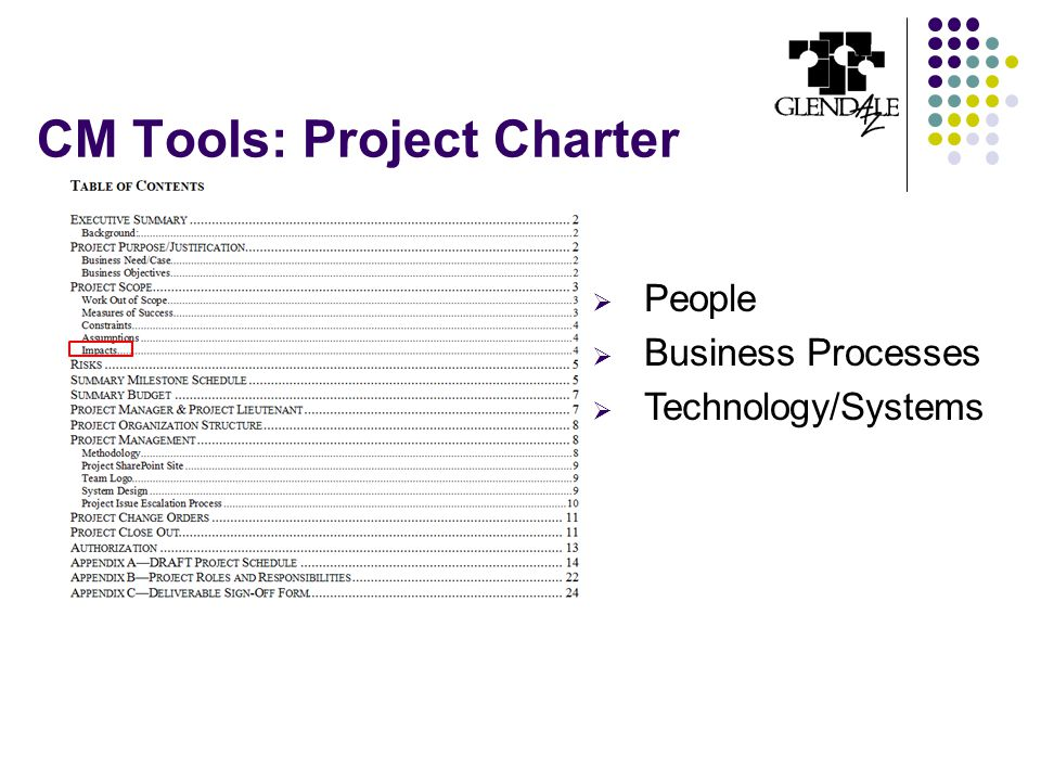 CM Tools: Project Charter  People  Business Processes  Technology/Systems