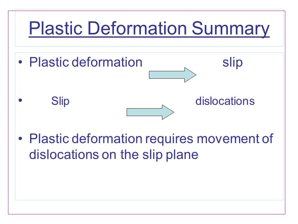 Plastic Deformation Summary Plastic deformation slip Slip dislocations Plastic deformation requires movement of dislocations on the slip plane