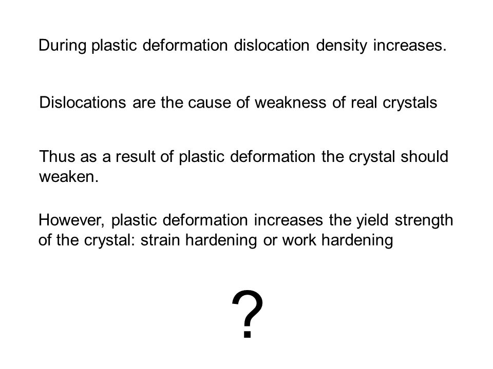 During plastic deformation dislocation density increases. Dislocations are the cause of weakness of real crystals Thus as a result of plastic deformat