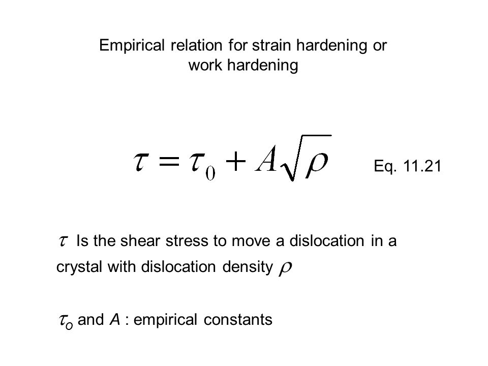 Empirical relation for strain hardening or work hardening  Is the shear stress to move a dislocation in a crystal with dislocation density   o and