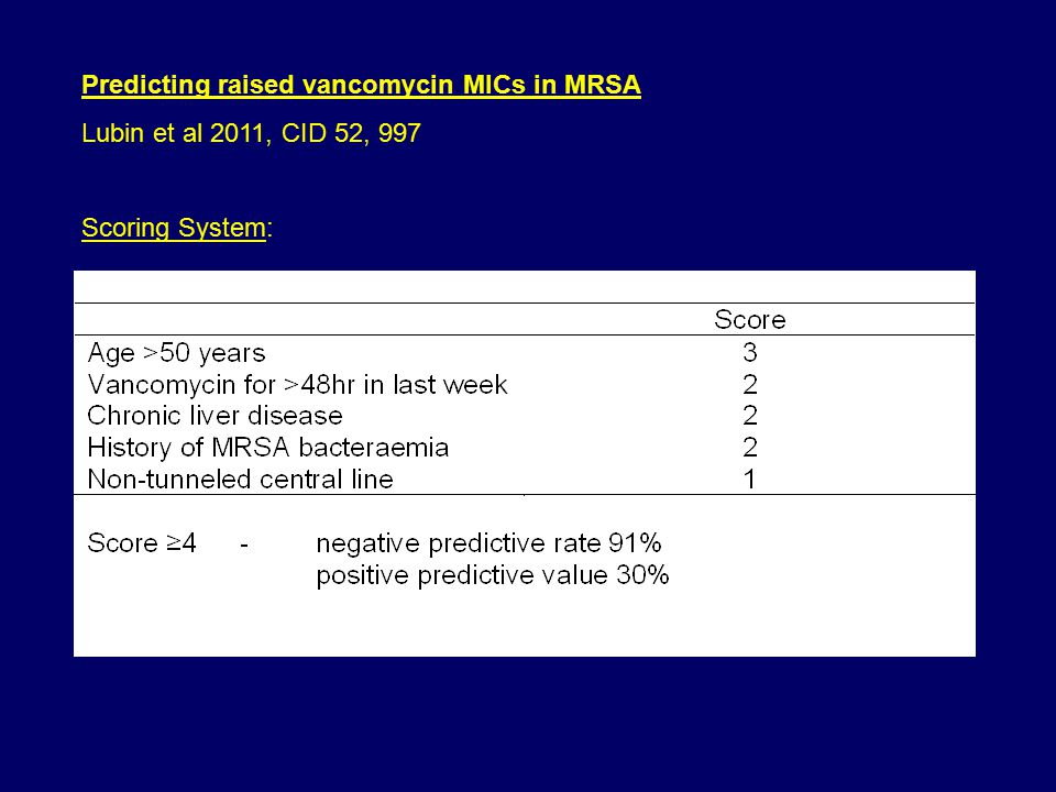 Predicting raised vancomycin MICs in MRSA Lubin et al 2011, CID 52, 997 Scoring System: