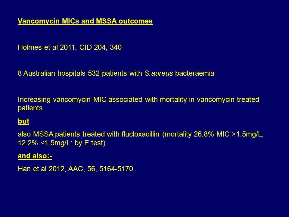 Vancomycin MICs and MSSA outcomes Holmes et al 2011, CID 204, 340 8 Australian hospitals 532 patients with S.aureus bacteraemia Increasing vancomycin MIC associated with mortality in vancomycin treated patients but also MSSA patients treated with flucloxacillin (mortality 26.8% MIC >1.5mg/L, 12.2% <1.5mg/L: by E.test) and also:- Han et al 2012, AAC, 56, 5164-5170.