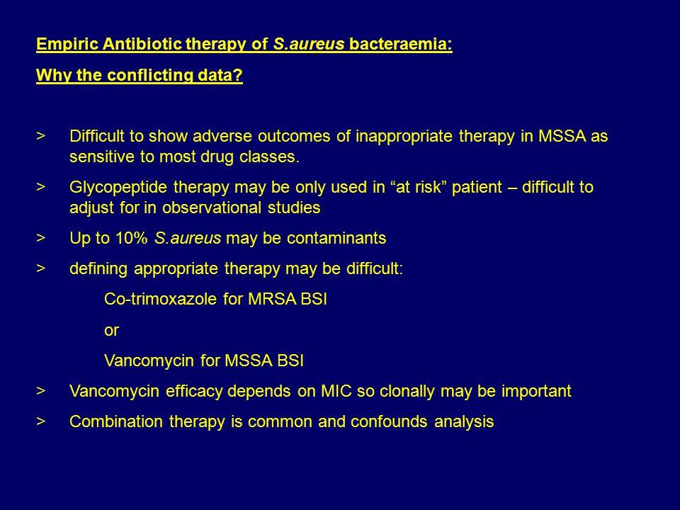 Empiric Antibiotic therapy of S.aureus bacteraemia: Why the conflicting data.