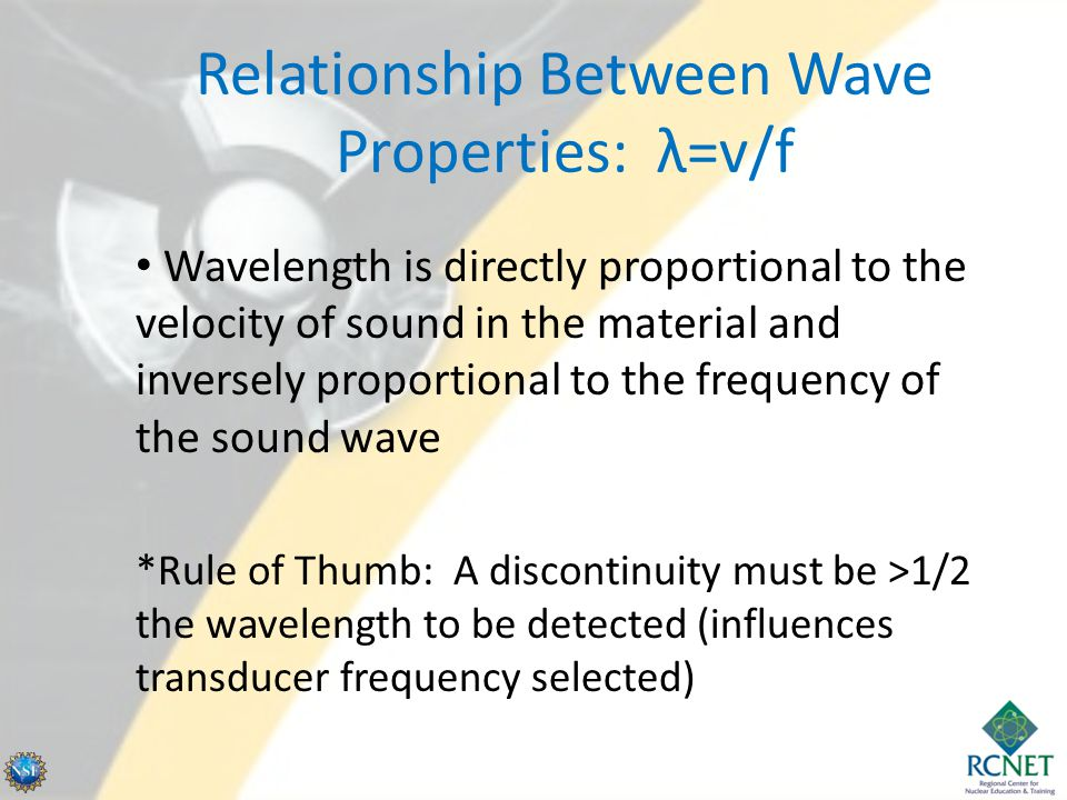 Relationship Between Wave Properties: λ=v/f Wavelength is directly proportional to the velocity of sound in the material and inversely proportional to
