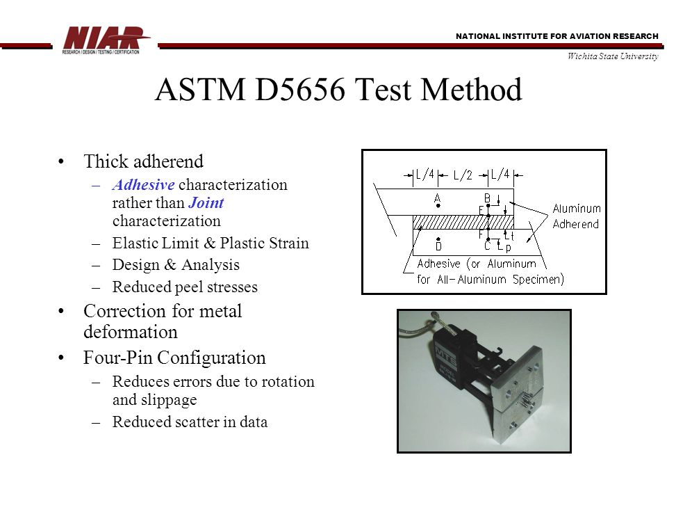 NATIONAL INSTITUTE FOR AVIATION RESEARCH Wichita State University ASTM D5656 Test Method Thick adherend –Adhesive characterization rather than Joint characterization –Elastic Limit & Plastic Strain –Design & Analysis –Reduced peel stresses Correction for metal deformation Four-Pin Configuration –Reduces errors due to rotation and slippage –Reduced scatter in data