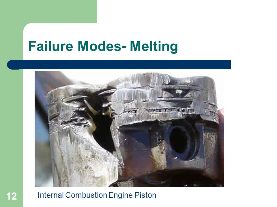 12 Failure Modes- Melting Internal Combustion Engine Piston