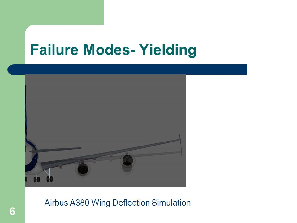 6 Failure Modes- Yielding Airbus A380 Wing Deflection Simulation