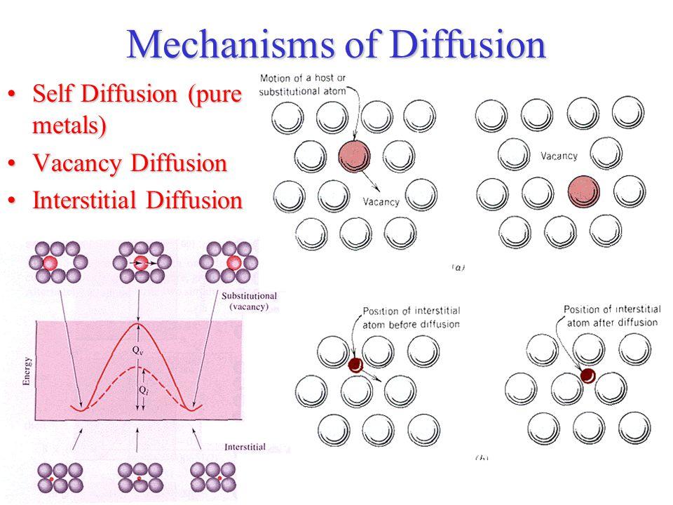 Mechanisms of Diffusion Self Diffusion (pure metals)Self Diffusion (pure metals) Vacancy DiffusionVacancy Diffusion Interstitial DiffusionInterstitial Diffusion