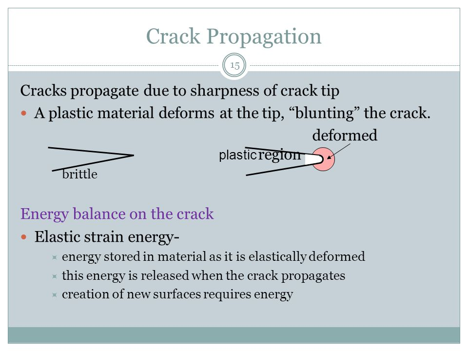 """15 Crack Propagation Cracks propagate due to sharpness of crack tip A plastic material deforms at the tip, """"blunting"""" the crack. deformed region britt"""