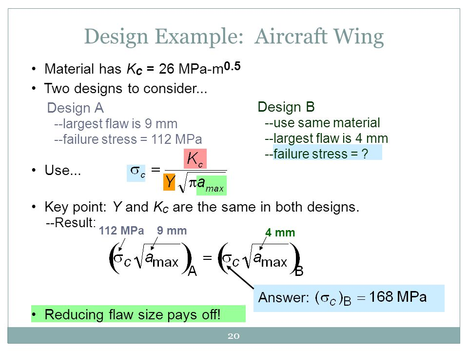 20 Two designs to consider... Design A --largest flaw is 9 mm --failure stress = 112 MPa Design B --use same material --largest flaw is 4 mm --failure