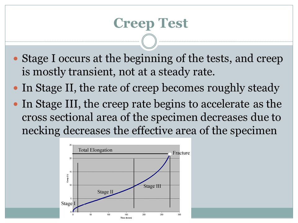 Creep Test Stage I occurs at the beginning of the tests, and creep is mostly transient, not at a steady rate. In Stage II, the rate of creep becomes r