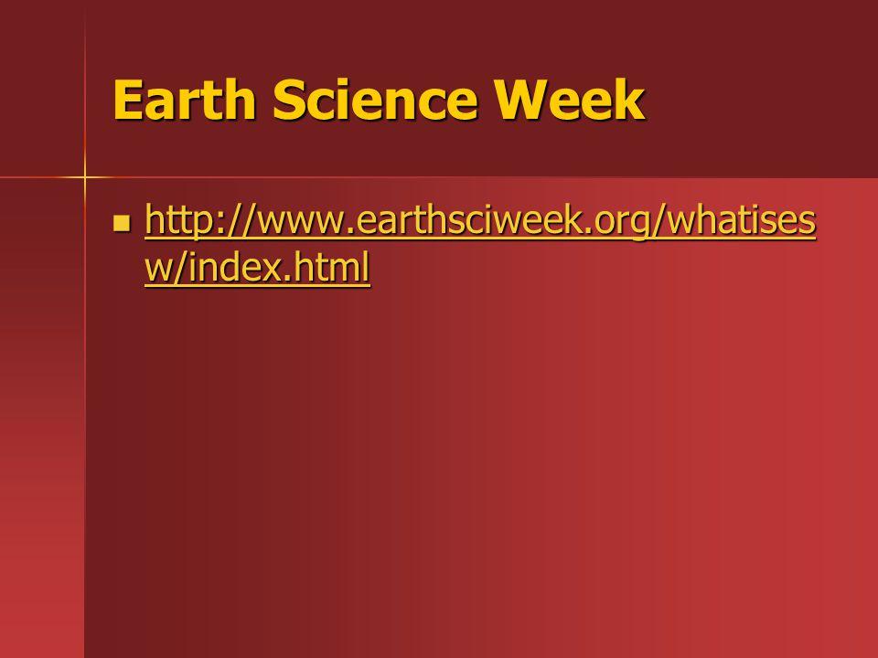 Earth Science Week http://www.earthsciweek.org/whatises w/index.html http://www.earthsciweek.org/whatises w/index.html http://www.earthsciweek.org/whatises w/index.html http://www.earthsciweek.org/whatises w/index.html