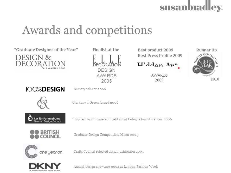 Awards and competitions Graduate Designer of the Year DESIGN AWARDS 2005 Finalist at the 'Inspired by Cologne' competition at Cologne Furniture Fair 2006 Graduate Design Competition, Milan 2005 Annual design showcase 2004 at London Fashion Week Crafts Council selected design exhibition 2005 Bursary winner 2006 Clerkenwll Green Award 2006 Best product 2009 Best Press Profile 2009 Runner Up AWARDS 2009 2010