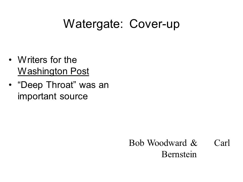 Watergate: Break-In CREEP attempted to bug the Democratic Headquarters at the Watergate Nixon probably knew nothing about break- in, but later tried c