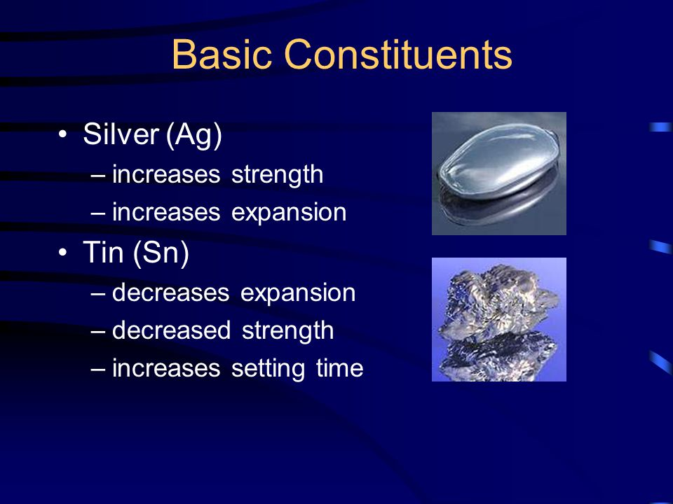 Basic Constituents Silver (Ag) –increases strength –increases expansion Tin (Sn) –decreases expansion –decreased strength –increases setting time