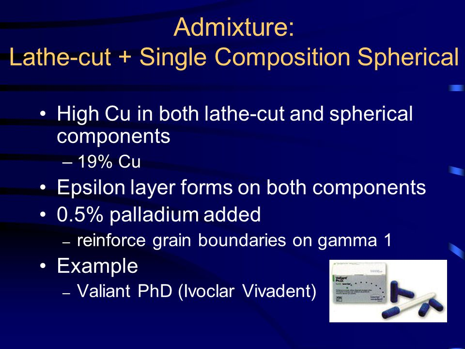 Admixture: Lathe-cut + Single Composition Spherical High Cu in both lathe-cut and spherical components –19% Cu Epsilon layer forms on both components 0.5% palladium added – reinforce grain boundaries on gamma 1 Example – Valiant PhD (Ivoclar Vivadent)