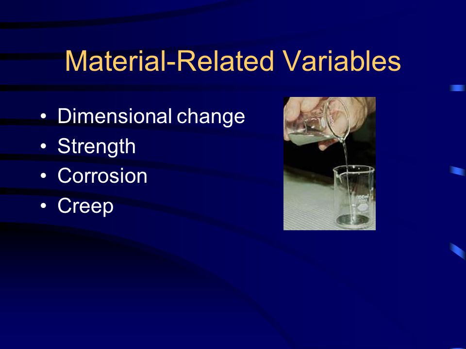 Material-Related Variables Dimensional change Strength Corrosion Creep