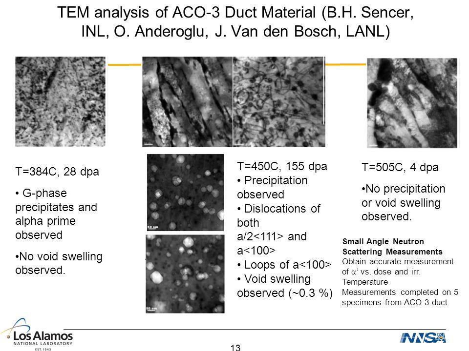 13 TEM analysis of ACO-3 Duct Material (B.H. Sencer, INL, O. Anderoglu, J. Van den Bosch, LANL) T=384C, 28 dpa G-phase precipitates and alpha prime ob