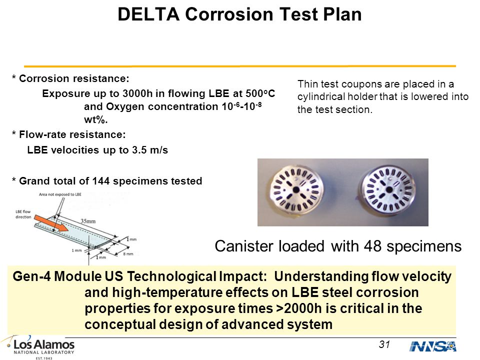 DELTA Corrosion Test Plan 31 * Corrosion resistance: Exposure up to 3000h in flowing LBE at 500 o C and Oxygen concentration 10 -6 -10 -8 wt%. * Flow-
