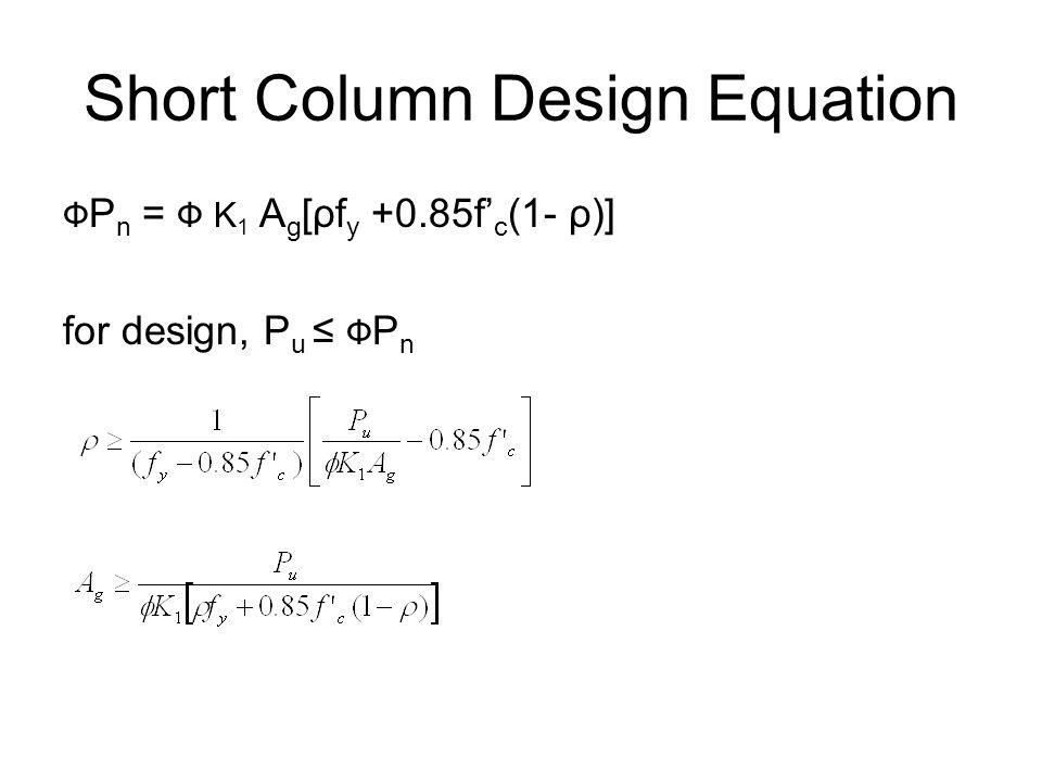 Short Column Design Equation Ф P n = Ф K 1 A g [ρf y +0.85f' c (1- ρ)] for design, P u ≤ Ф P n