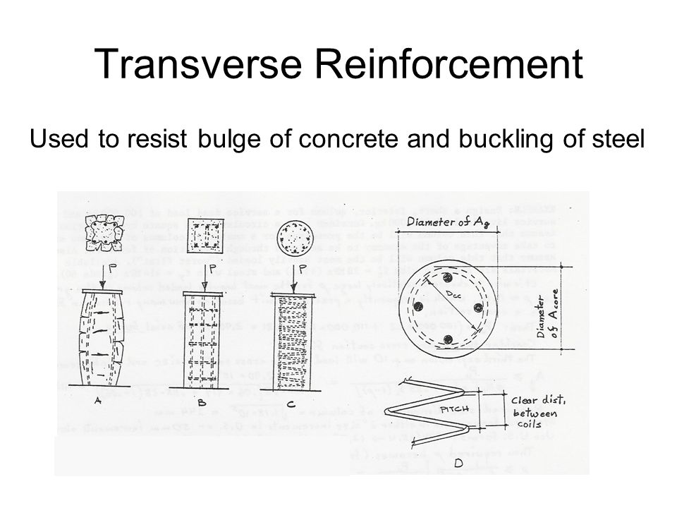 Transverse Reinforcement Used to resist bulge of concrete and buckling of steel