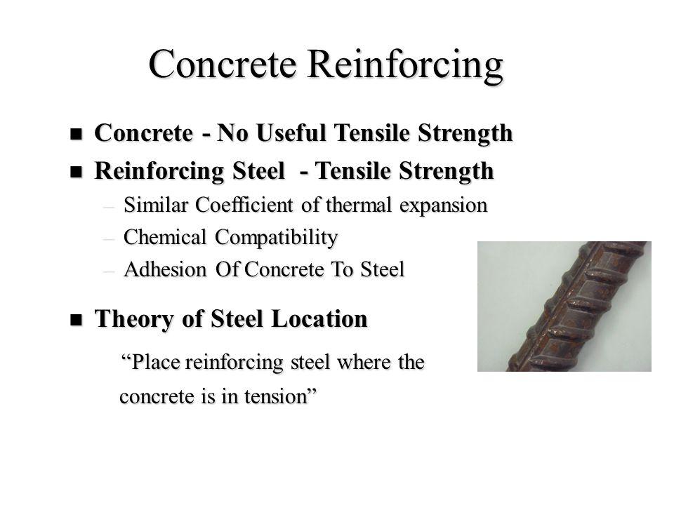 Concrete Reinforcing Concrete - No Useful Tensile Strength Concrete - No Useful Tensile Strength Reinforcing Steel - Tensile Strength Reinforcing Stee