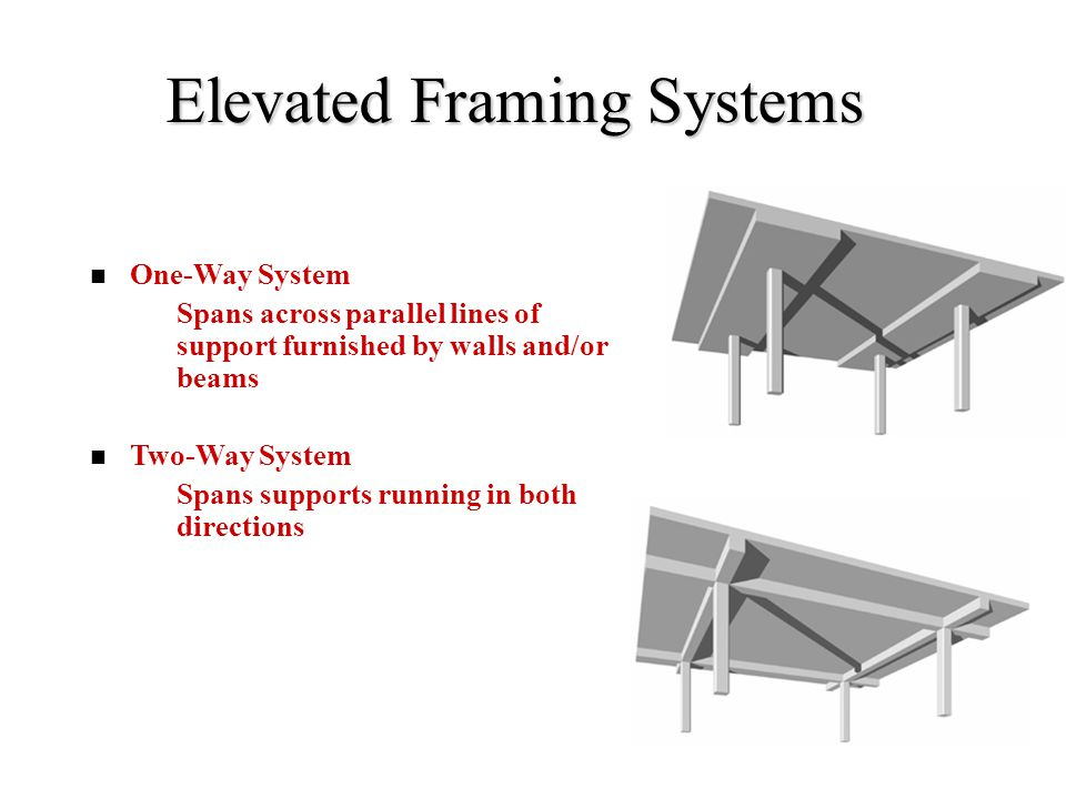 Elevated Framing Systems One-Way System –Spans across parallel lines of support furnished by walls and/or beams Two-Way System –Spans supports running