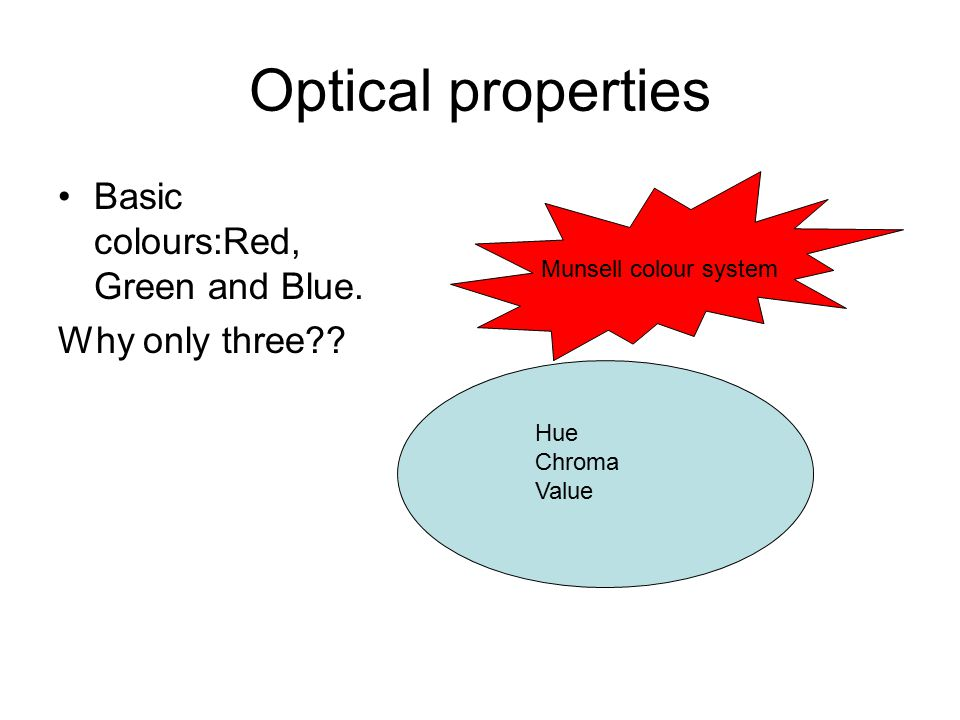 Optical properties Basic colours:Red, Green and Blue. Why only three?? Hue Chroma Value Munsell colour system
