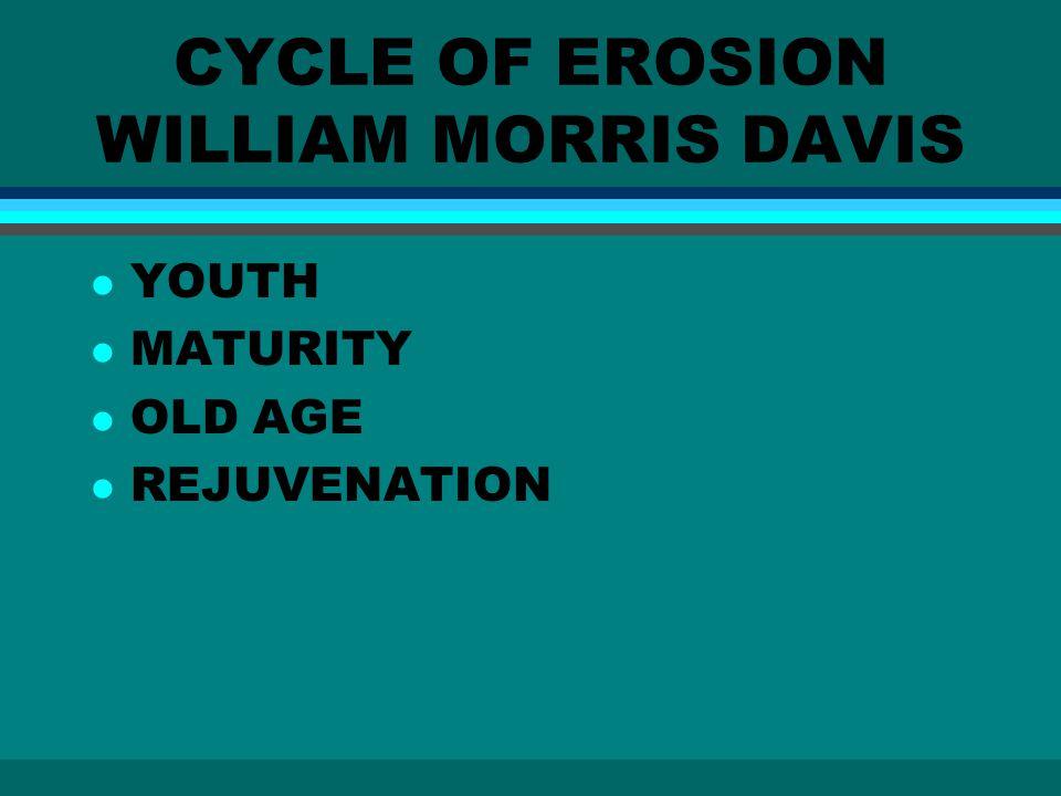 CYCLE OF EROSION WILLIAM MORRIS DAVIS l YOUTH l MATURITY l OLD AGE l REJUVENATION