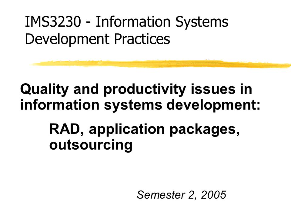 quality issues in system development