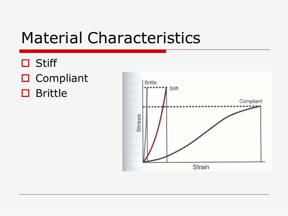 Material Characteristics  Stiff  Compliant  Brittle