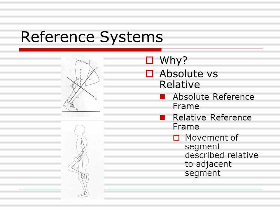 Reference Systems  Why?  Absolute vs Relative Absolute Reference Frame Relative Reference Frame  Movement of segment described relative to adjacent