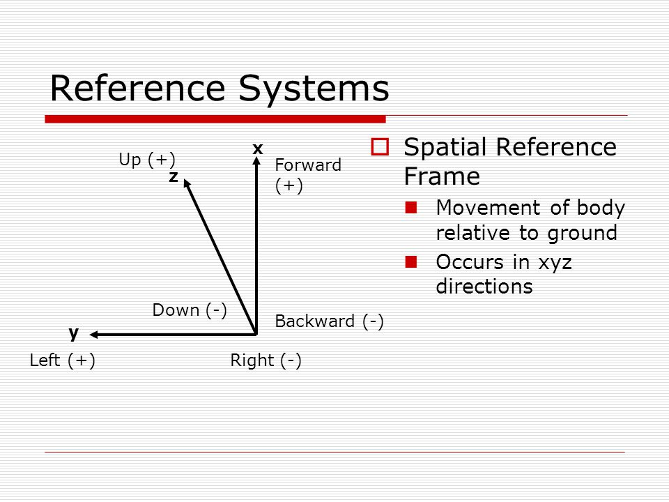 Reference Systems  Spatial Reference Frame Movement of body relative to ground Occurs in xyz directions x y z Forward (+) Backward (-) Left (+)Right