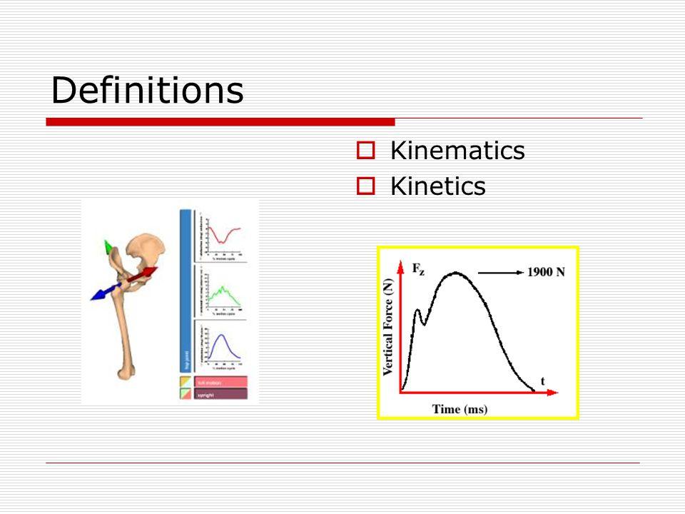 Definitions  Kinematics  Kinetics