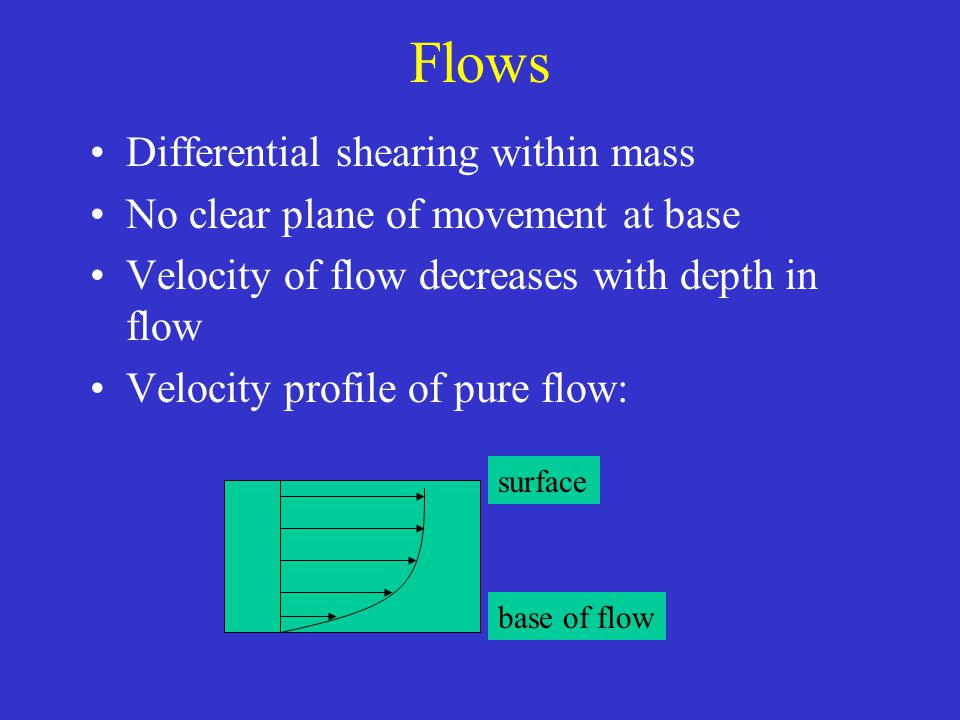 Flows Differential shearing within mass No clear plane of movement at base Velocity of flow decreases with depth in flow Velocity profile of pure flow