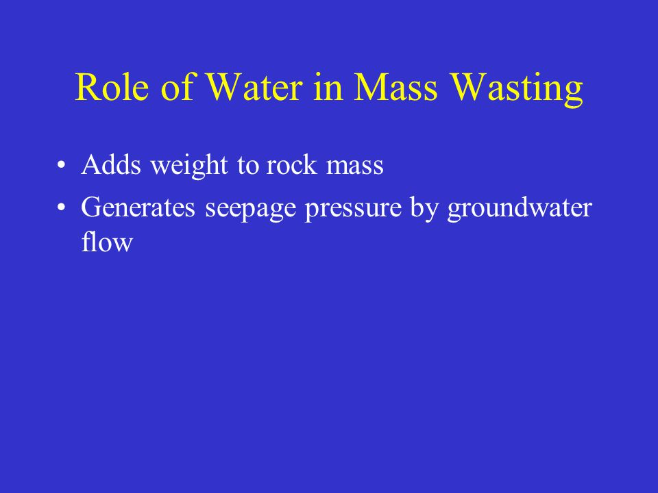 Role of Water in Mass Wasting Adds weight to rock mass Generates seepage pressure by groundwater flow