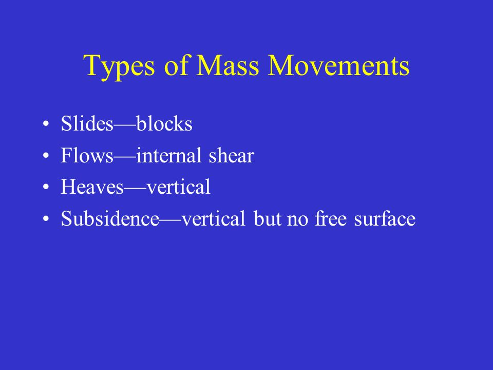 Types of Mass Movements Slides—blocks Flows—internal shear Heaves—vertical Subsidence—vertical but no free surface