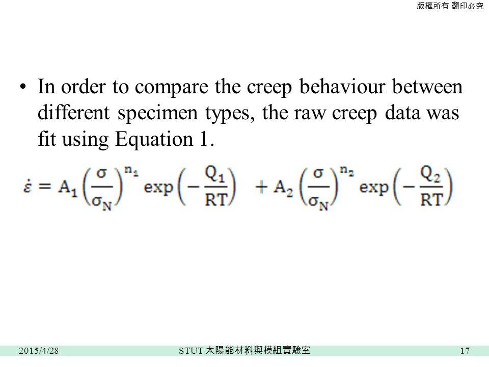 版權所有 翻印必究 In order to compare the creep behaviour between different specimen types, the raw creep data was fit using Equation 1.