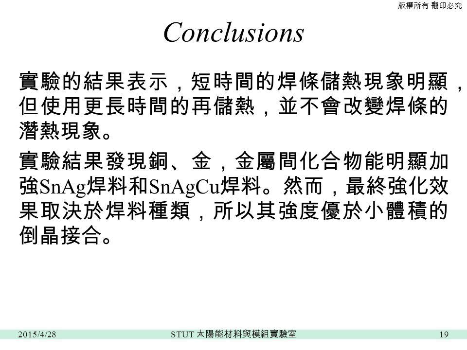 版權所有 翻印必究 Conclusions 實驗的結果表示,短時間的焊條儲熱現象明顯, 但使用更長時間的再儲熱,並不會改變焊條的 潛熱現象。 實驗結果發現銅、金,金屬間化合物能明顯加 強 SnAg 焊料和 SnAgCu 焊料。然而,最終強化效 果取決於焊料種類,所以其強度優於小體積的 倒晶接合。 2015/4/2819 STUT 太陽能材料與模組實驗室