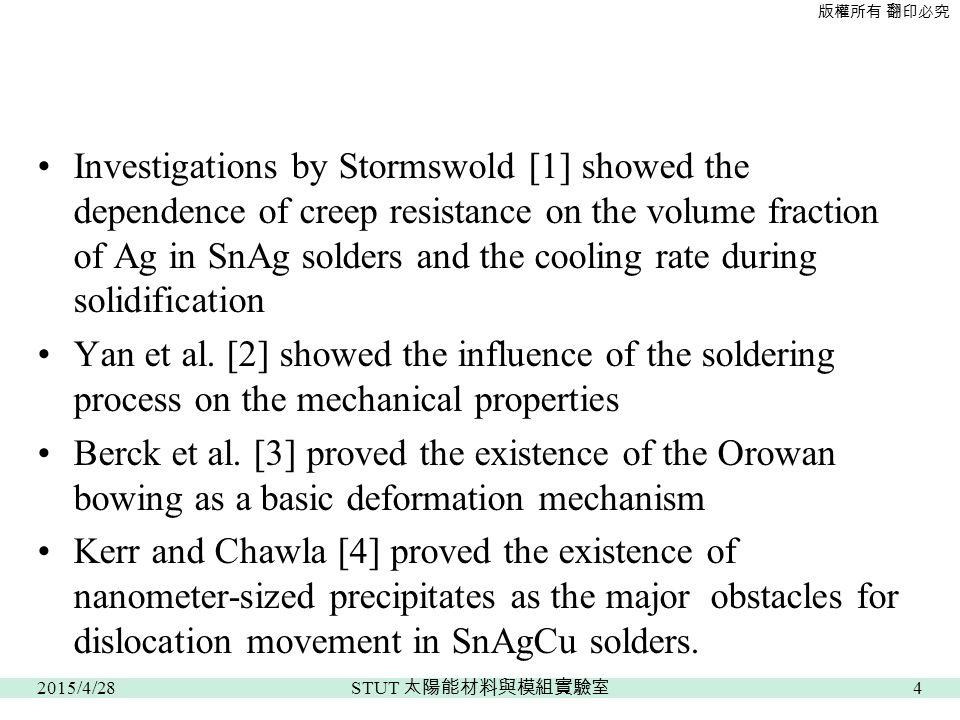 版權所有 翻印必究 Investigations by Stormswold [1] showed the dependence of creep resistance on the volume fraction of Ag in SnAg solders and the cooling rate during solidification Yan et al.