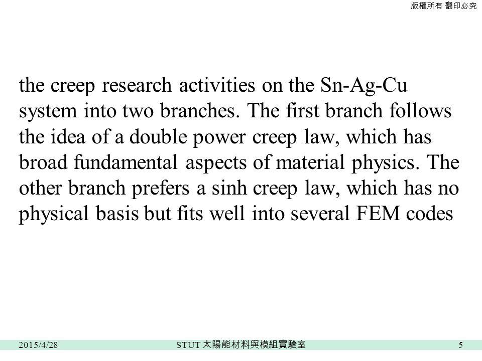 版權所有 翻印必究 the creep research activities on the Sn-Ag-Cu system into two branches.