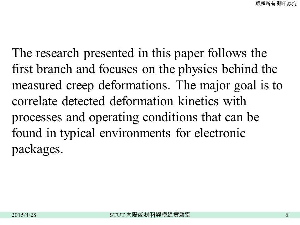 版權所有 翻印必究 The research presented in this paper follows the first branch and focuses on the physics behind the measured creep deformations.