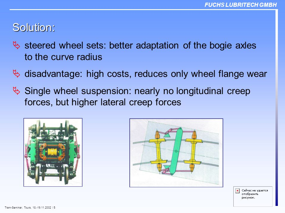 FUCHS LUBRITECH GMBH Tram-Seminar, Tours, 18.-19.11.2002 / 5 Solution:  steered wheel sets: better adaptation of the bogie axles to the curve radius